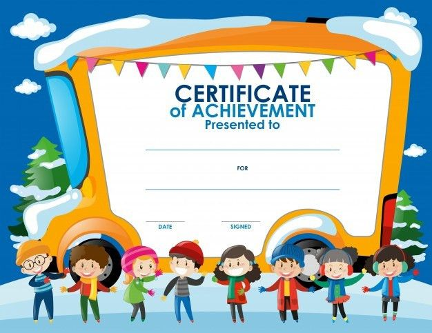 Certificate template with children in winter Free Vector ...