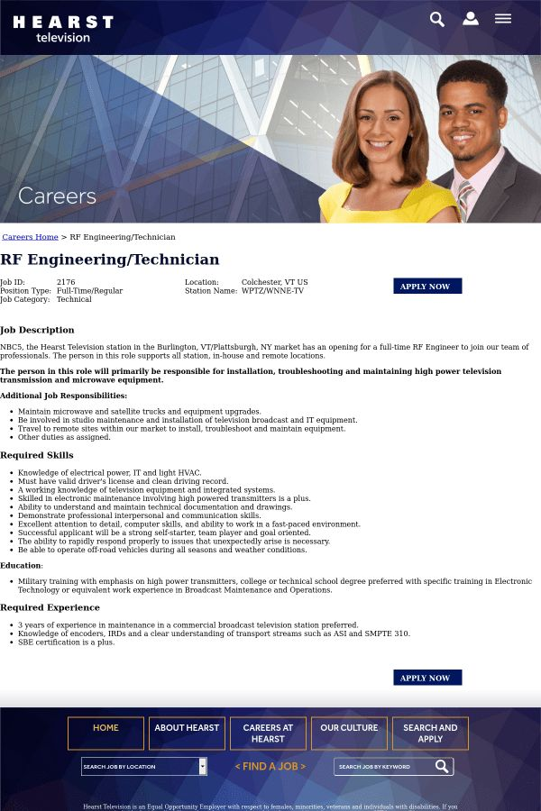RF Engineering / Technician job at Hearst Television in Colchester ...