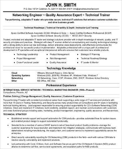 Sample Network Engineer Resume - 9+ Examples in Word, PDF