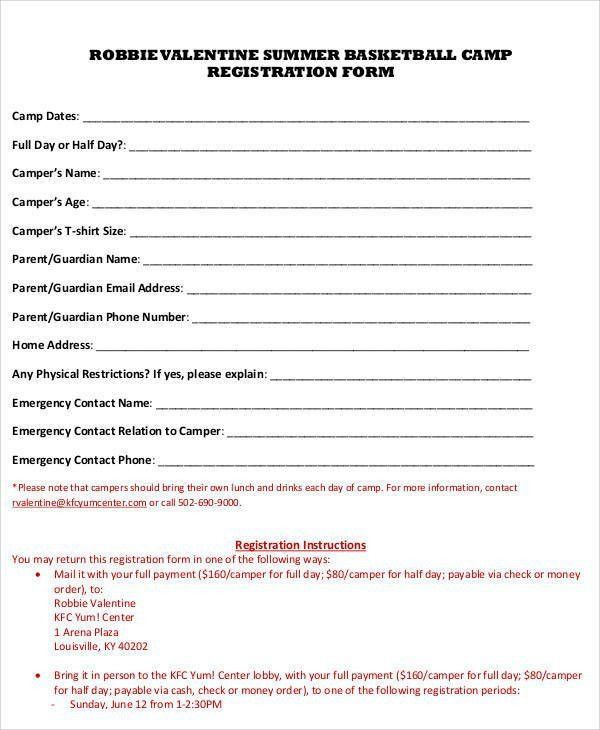 Summer Camp Registration Form Template | Best Template Examples