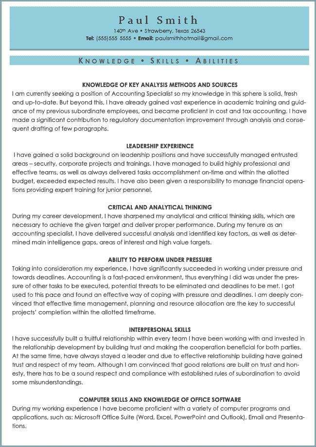 sample of resume skills and abilities resume cv cover letter ...