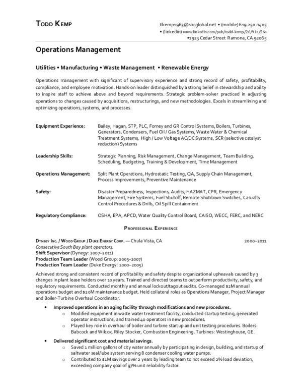 chemical operator resume professional chemical plant operator