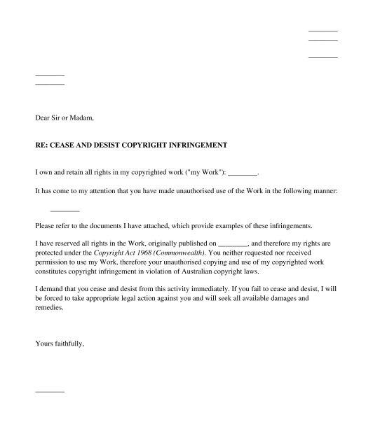 Infringement Cease and Desist Letter