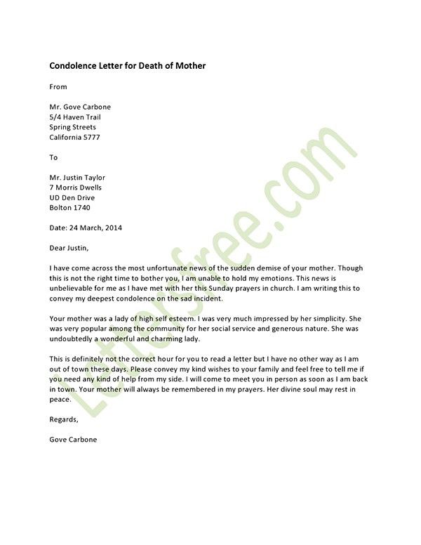 Short Microsoft Office Word and Excel Condolence Letter Example ...