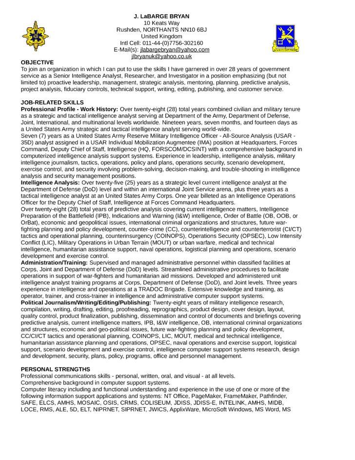 Executive Intelligence Analyst Resume Template