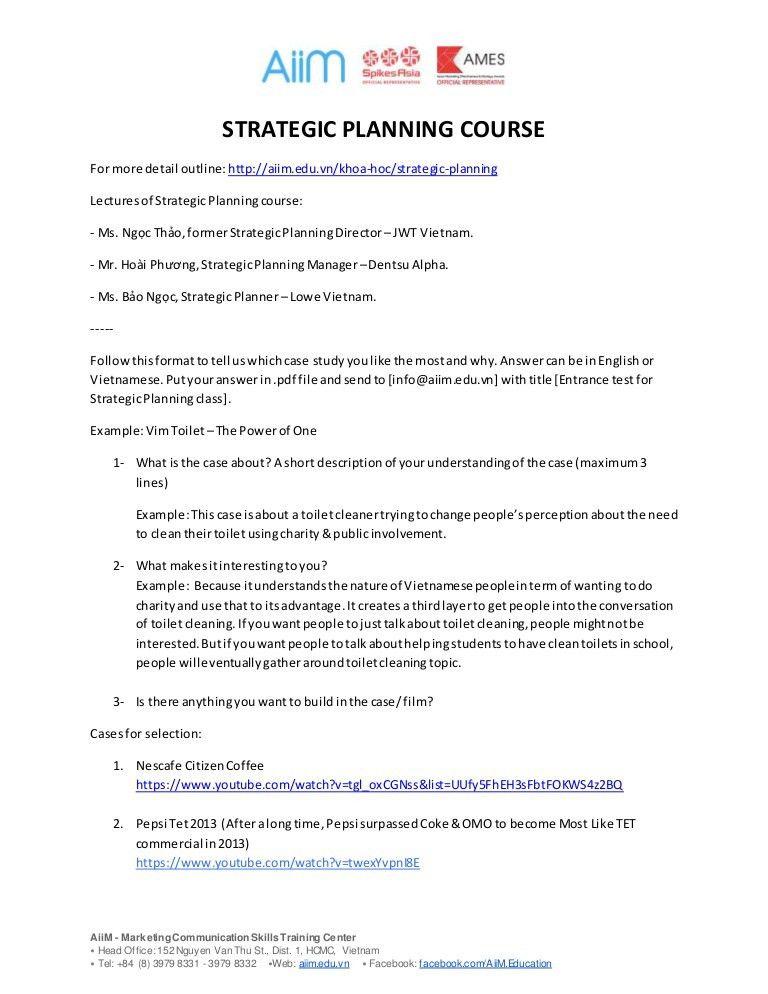 Strategic planning test dau vao