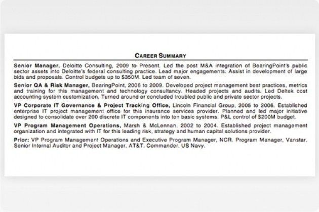 Executive Summary Resume Examples. Executive Summary Example ...