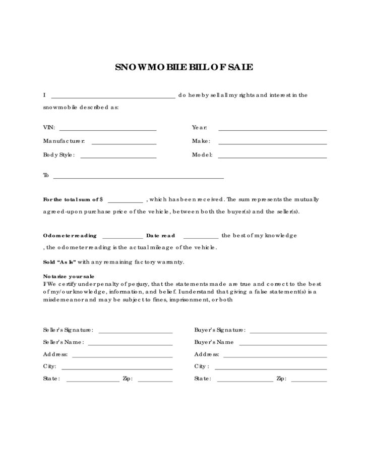 Snowmobile Bill of Sale Form Sample Free Download