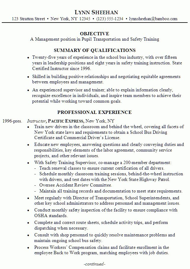 Resume: Manager, Pupil Transportation Training - Susan Ireland Resumes