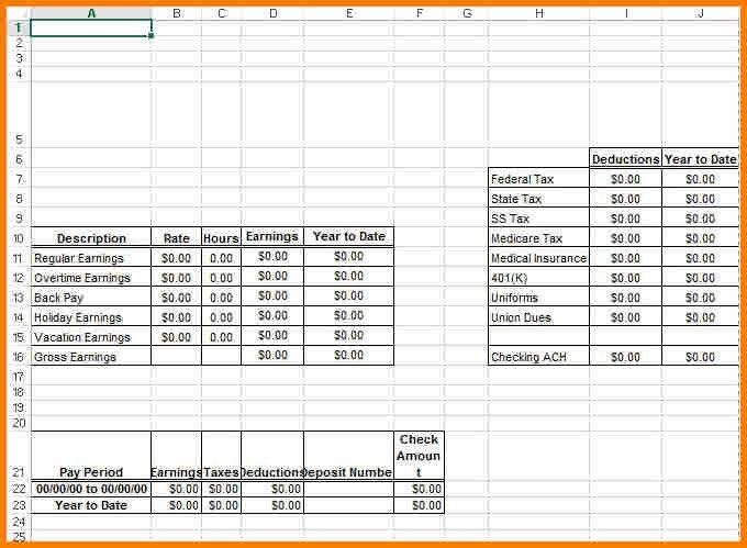6+ excel pay stub template | resume reference