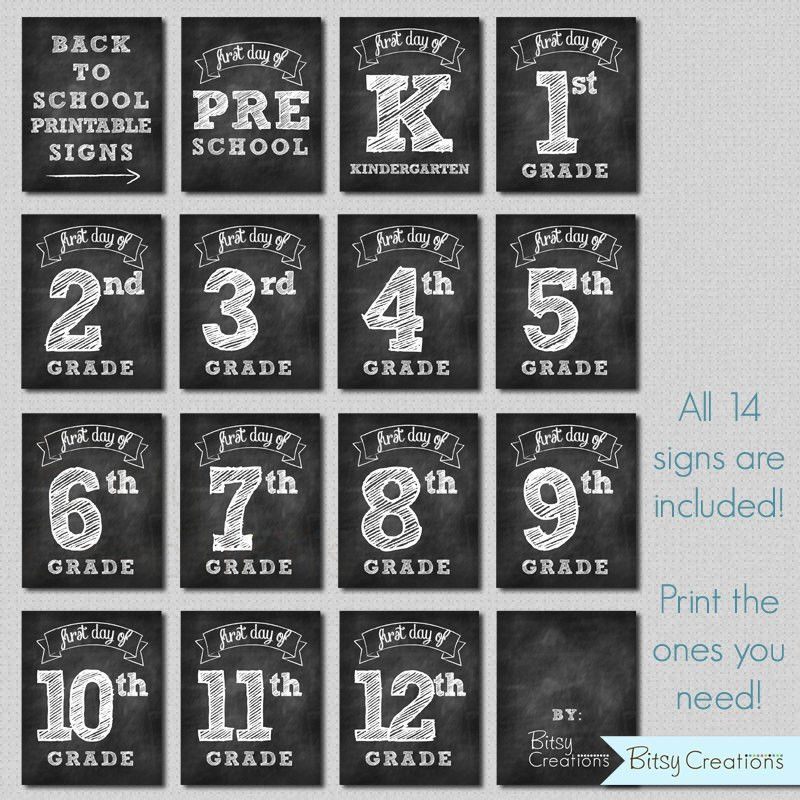 First Day of School Printable Signs INSTANT DOWNLOAD