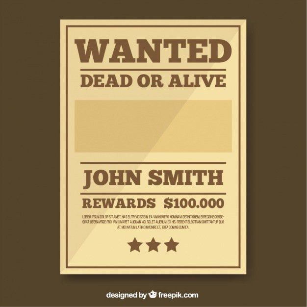 Wanted poster template in brown tones Vector | Free Download