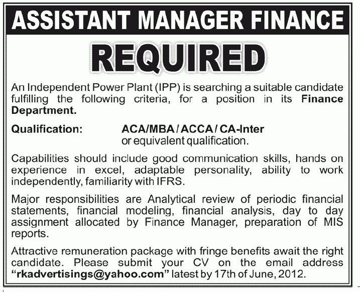 Assistant Manager Finance Required by an Independent Power Plant ...