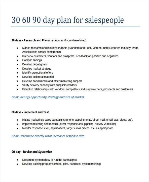 30 60 90 Day Sales Plan Template Free Sample | Template Idea