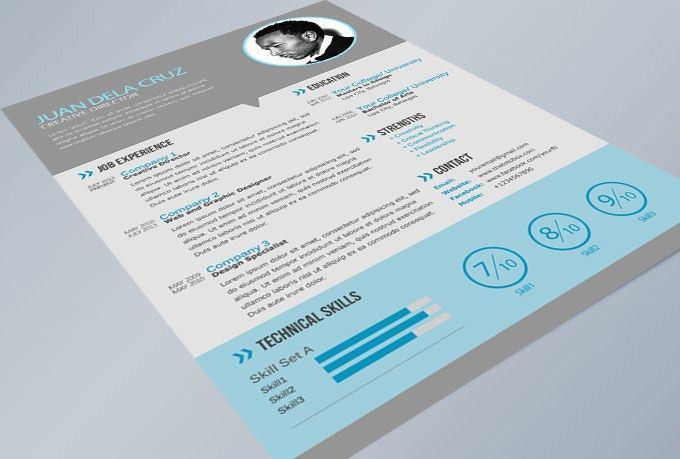 Free Modern and Simple Resume / CV PSD Template - THETOTOBOX