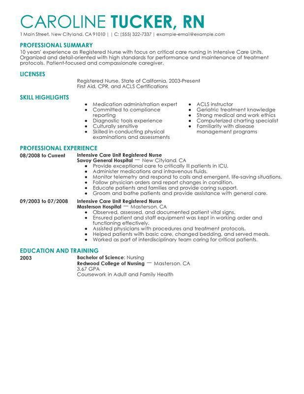 registered nurse resume examples resume format download pdf. nurse ...