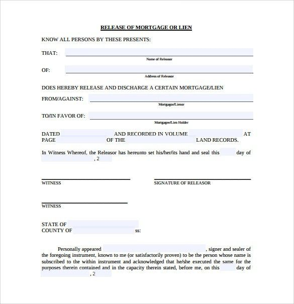 Release of Mortgage Form - 9+ Download Documents in PDF