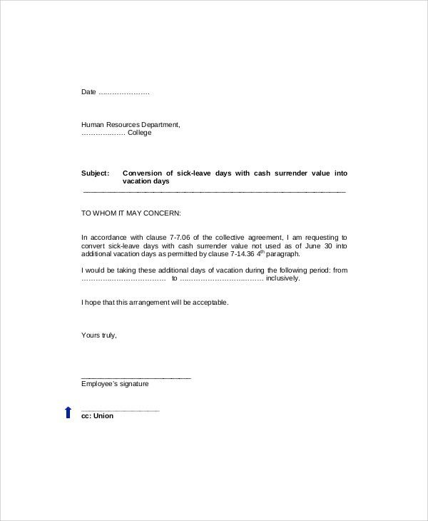 Sample Vacation Request Letter - 5+ Documents in PDF, Word