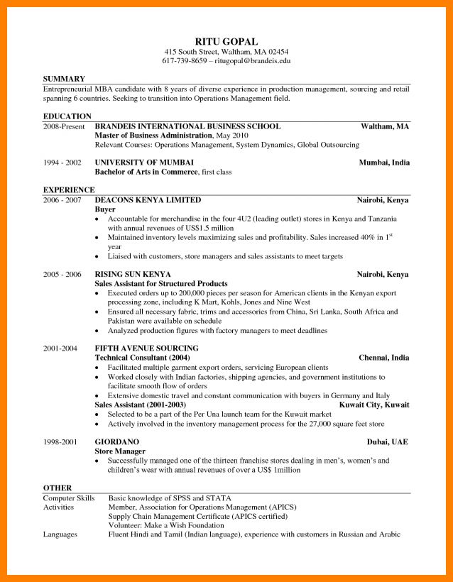 harvard business school resume template samples of resumes