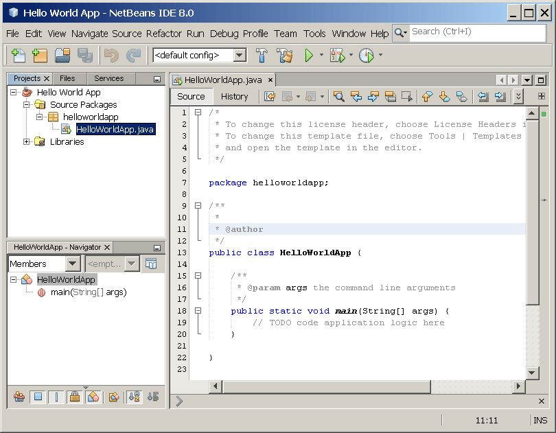 "Hello World!"" for the NetBeans IDE (The Java™ Tutorials > Getting ..."