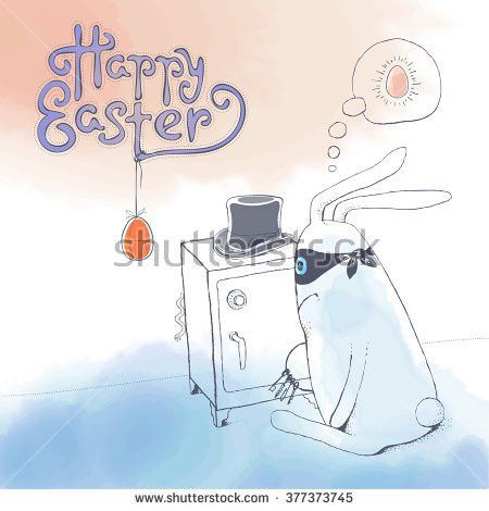 Hand Drawn Easter Greeting Card Illustration Stock Vector ...