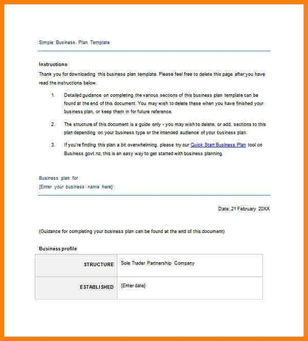 7+ Simple Business Plan Template Word | Letter Format For