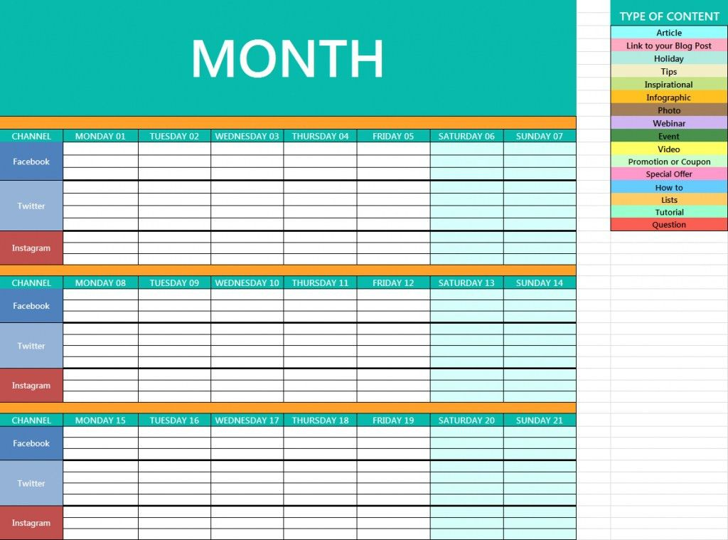 Social Media Content Calendar Template | Template Idea