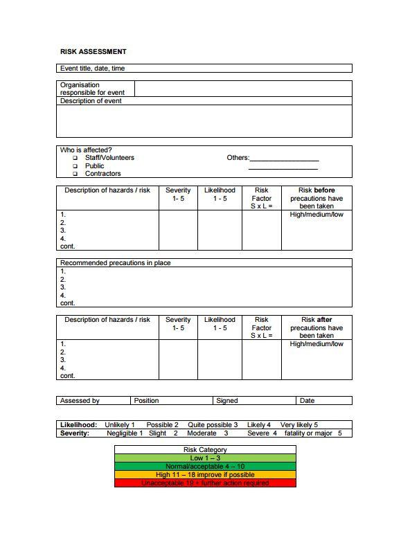Risk assessment form template | Making Music