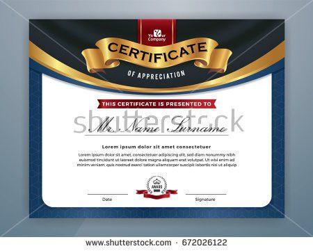 Beautiful Certificate Template Design Best Award Stock Vector ...