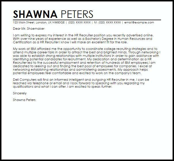 cover letter sample human resources job examples. letter to a ...