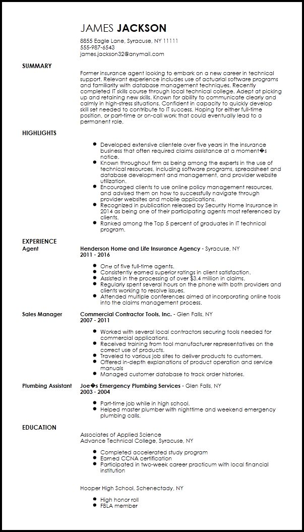 Free Entry Level Technical Support Specialist Resume Template ...