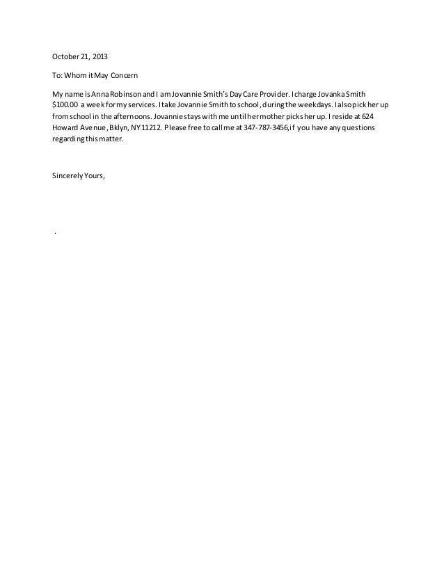 Babysitter letter