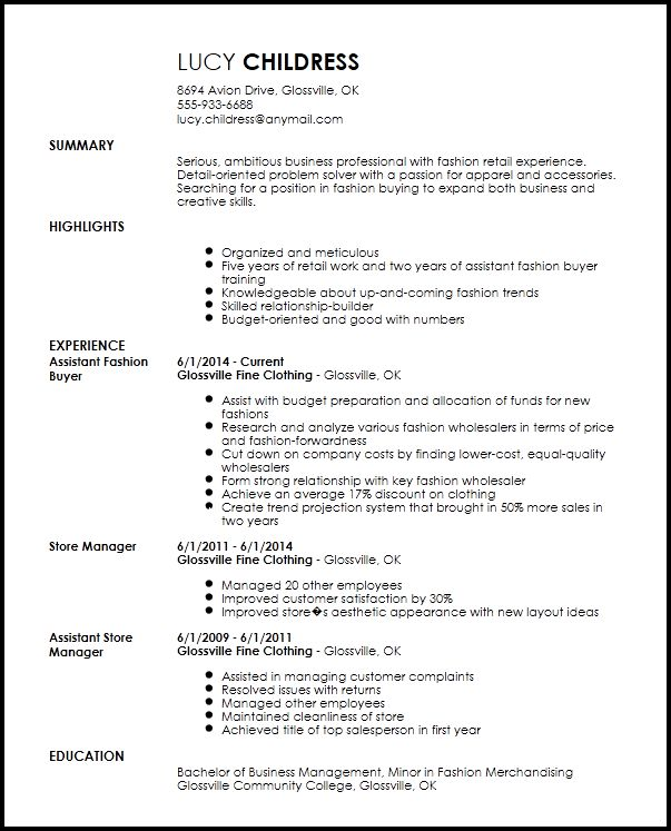 Assistant purchaser resume