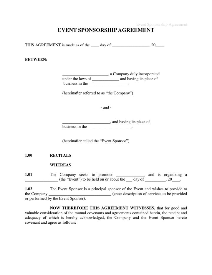 Sponsorship Contract Template. free contract templates sample ...