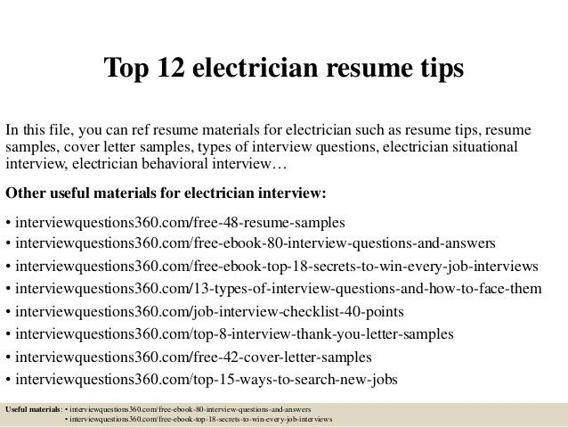 sample of electrician resume industrial electrician resume sample ...