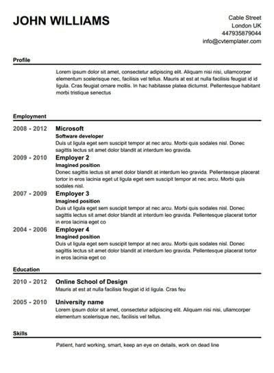 free printable resume template template design - Free Online Resume Templates Word