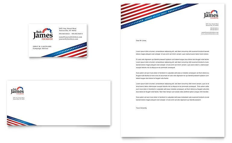 Political Campaign Business Card & Letterhead Template - Word ...
