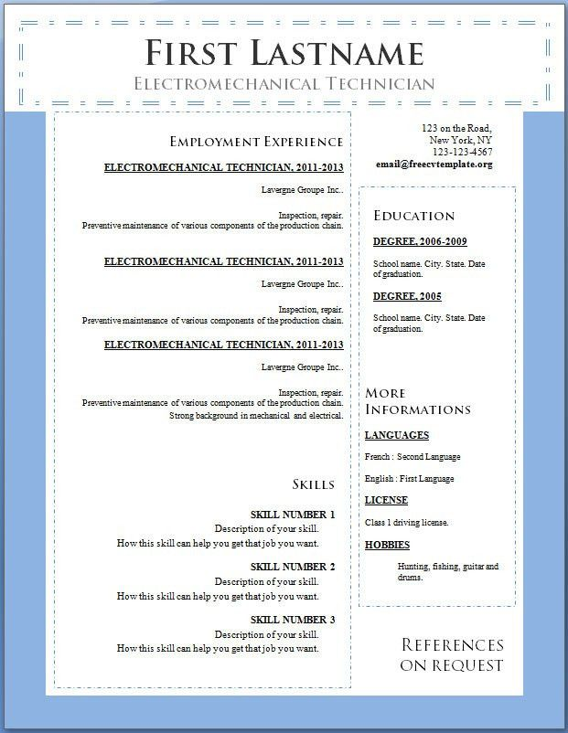 resume examples free download resume templates for microsoft word ...