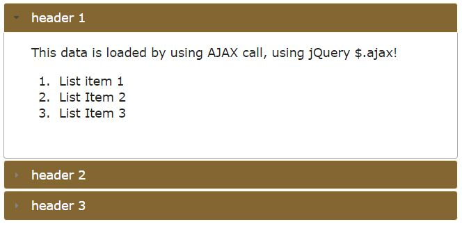 jQuery AJAX tutorial: 7 demos of div, form, tabs, accordion, and table