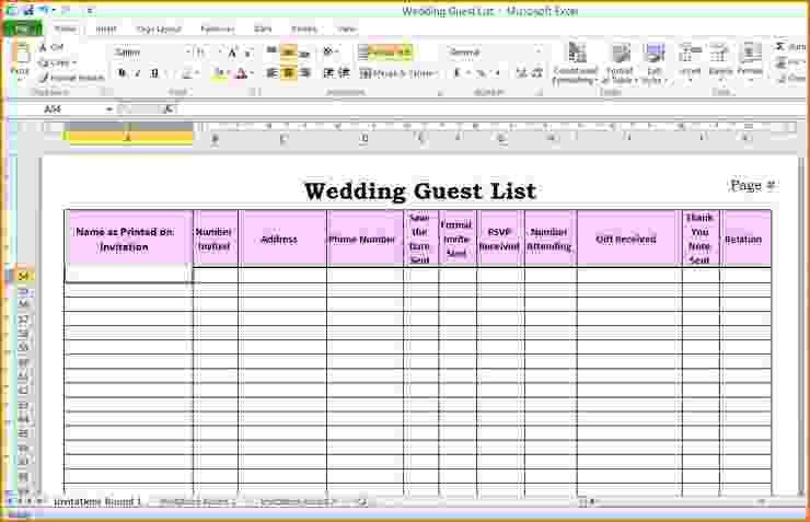 5 wedding guest list template excel | teknoswitch