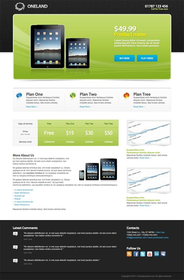 Free Landing Page Templates   cyberuse