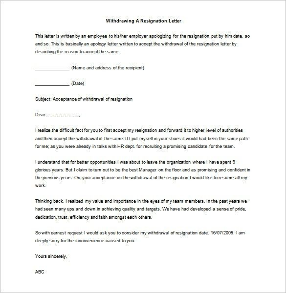 Resignation Letter : Withdrawing A Resignation Letter Sample Word ...