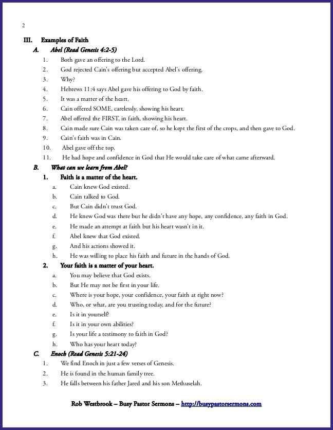 SERMON OUTLINE TEMPLATE.free Sermon Outline Hebrews 1116 A Matter ...