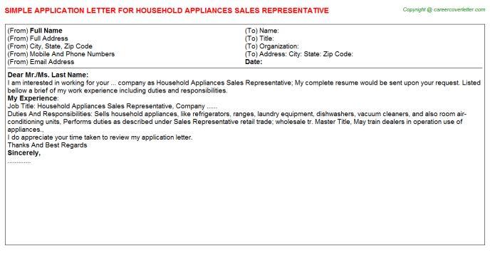 Household Appliances Sales Representative Application Letter