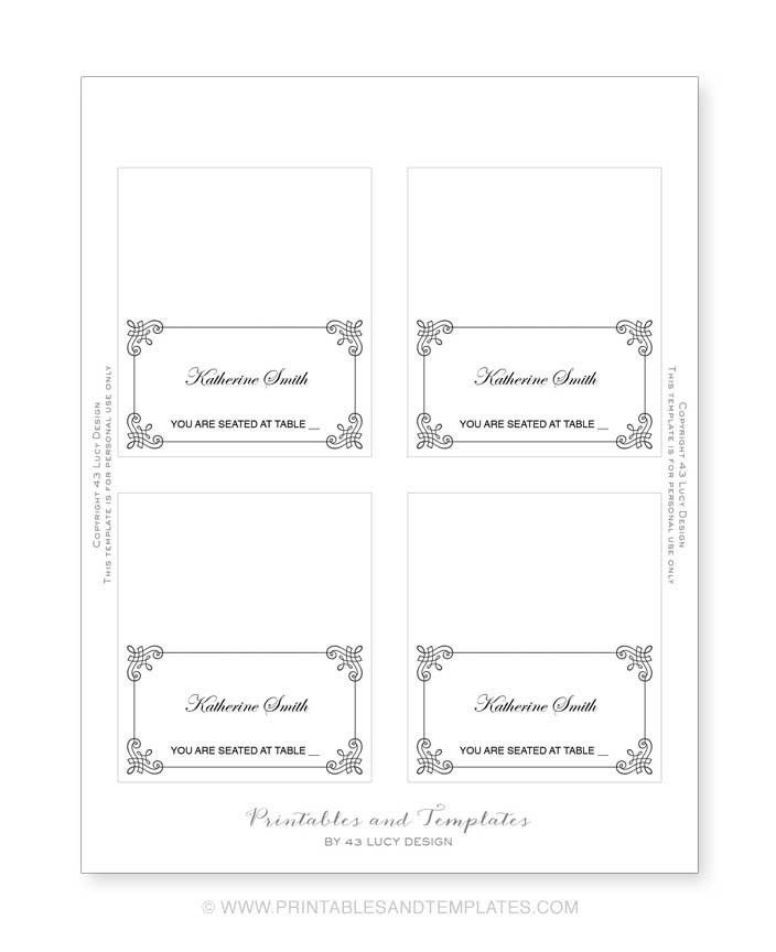 8 Best Images of Place Card Template 6 Per Sheet Avery - Place ...