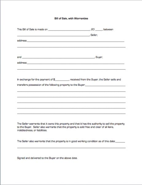 Bill of Sale, with Warranties | Business Forms