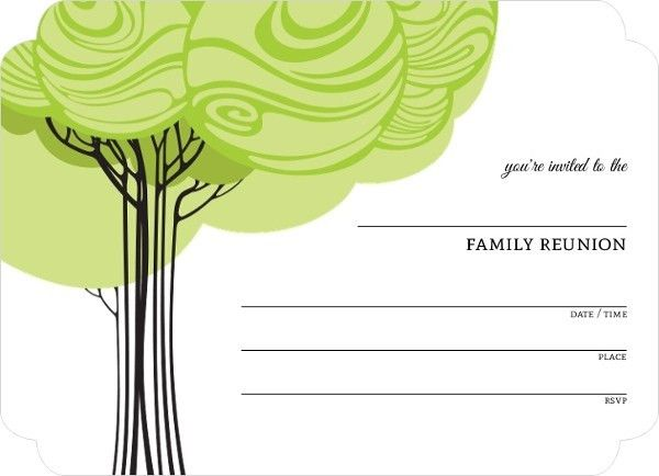 Swirly Family Tree Fill in the Blank Reunion Invitation | Blank ...