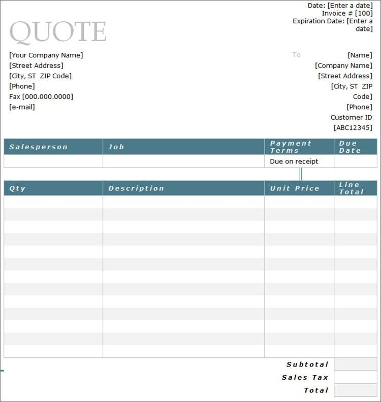 Service Quote Template. Quotation Template Template Free Painting ...