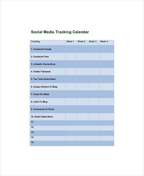 Social Media Calendar Template - 7+ Free Word, Excel, PDF ...