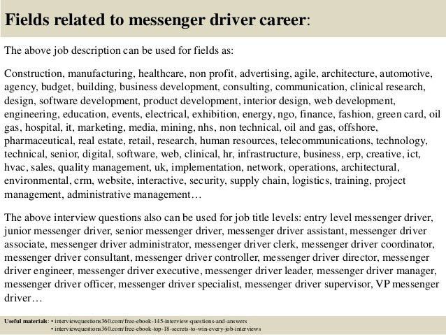 Top 10 messenger driver interview questions and answers